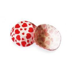 Košíčky muffin - červené srdiečka